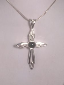 Whitby Jet & Stirling Silver Cross Pendant