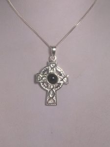 Whitby Jet & Stirling Silver Celtic Cross Pendant