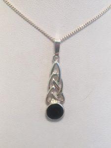 Whitby Jet & Stirling Silver Celtic Knot Pendant